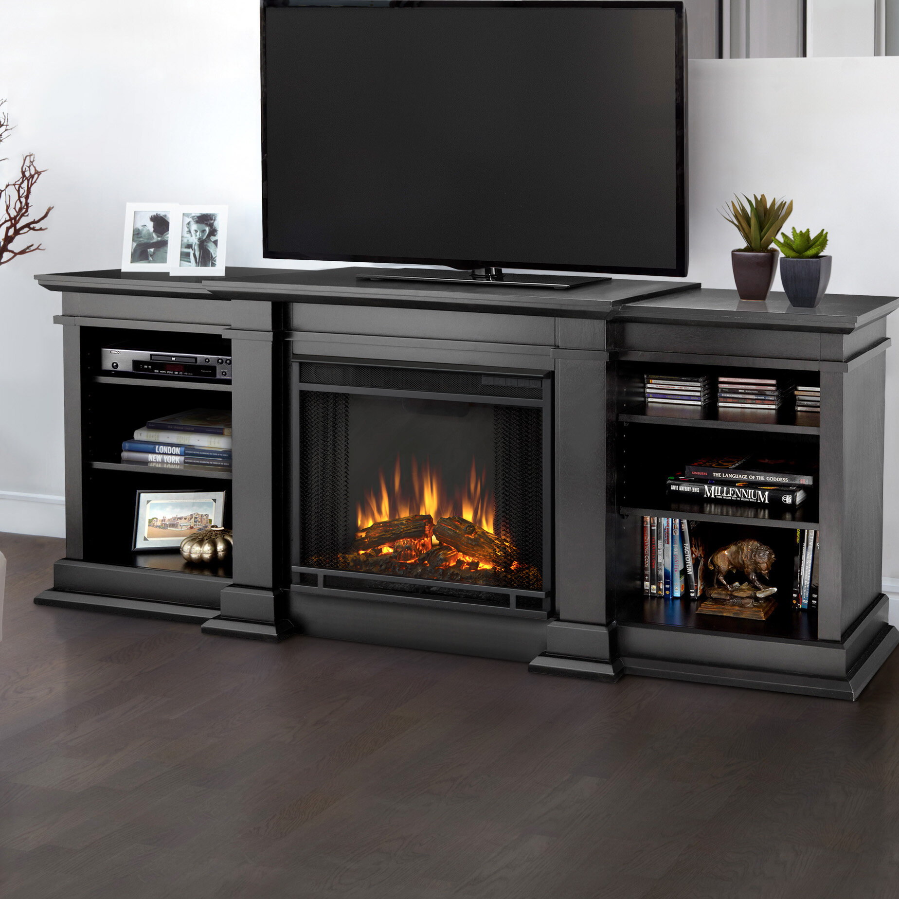 fresno entertainment center for tvs up to 70 with electric fireplace