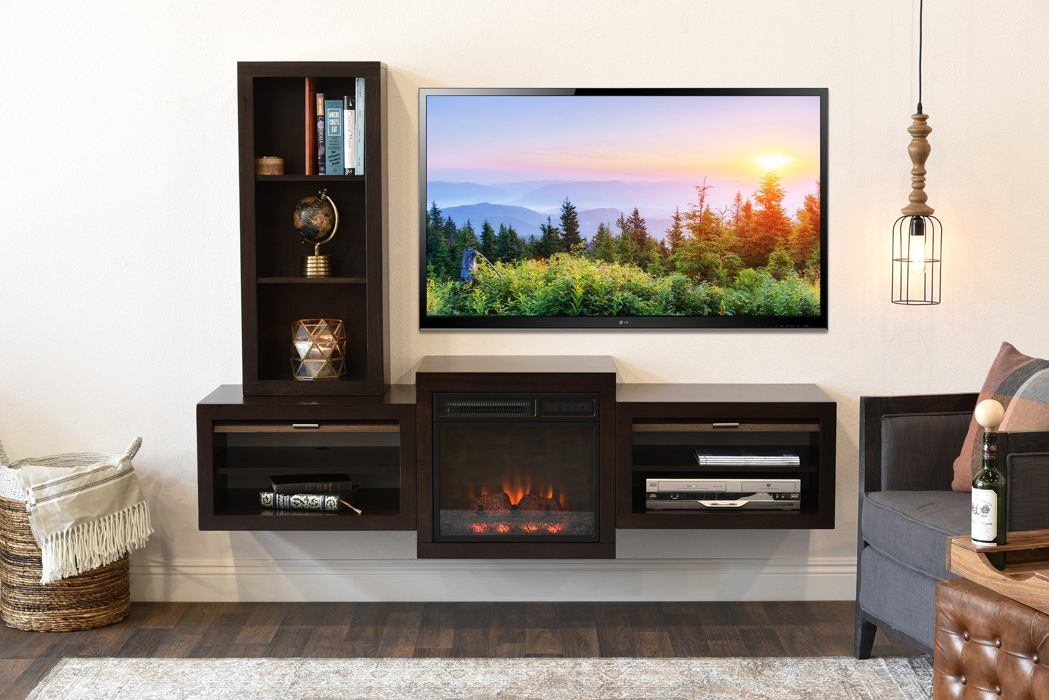 Floating Fireplace Floating Wall Mount TV Stand With Fireplace and Book Case Eco Geo Espresso 2048x