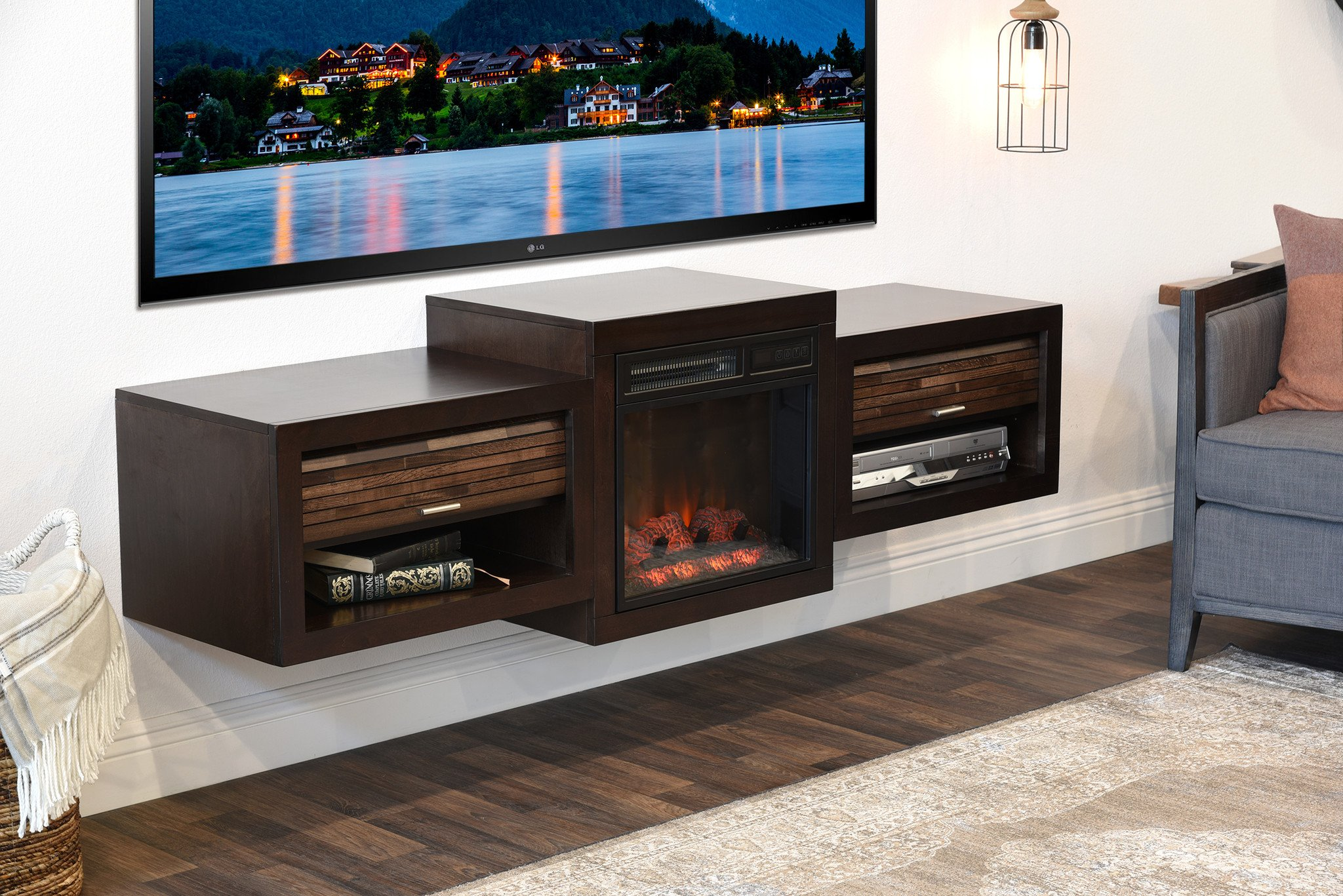 Fireplace Contemporary Furniture Floating FLoating TV Console With Fireplace Eco Geo Espresso 2048x