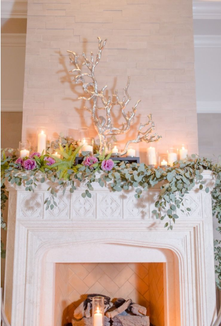 Garland for Fireplace Mantel Elegant Mantle Garland with Candles Eucalyptus Fern Peonies