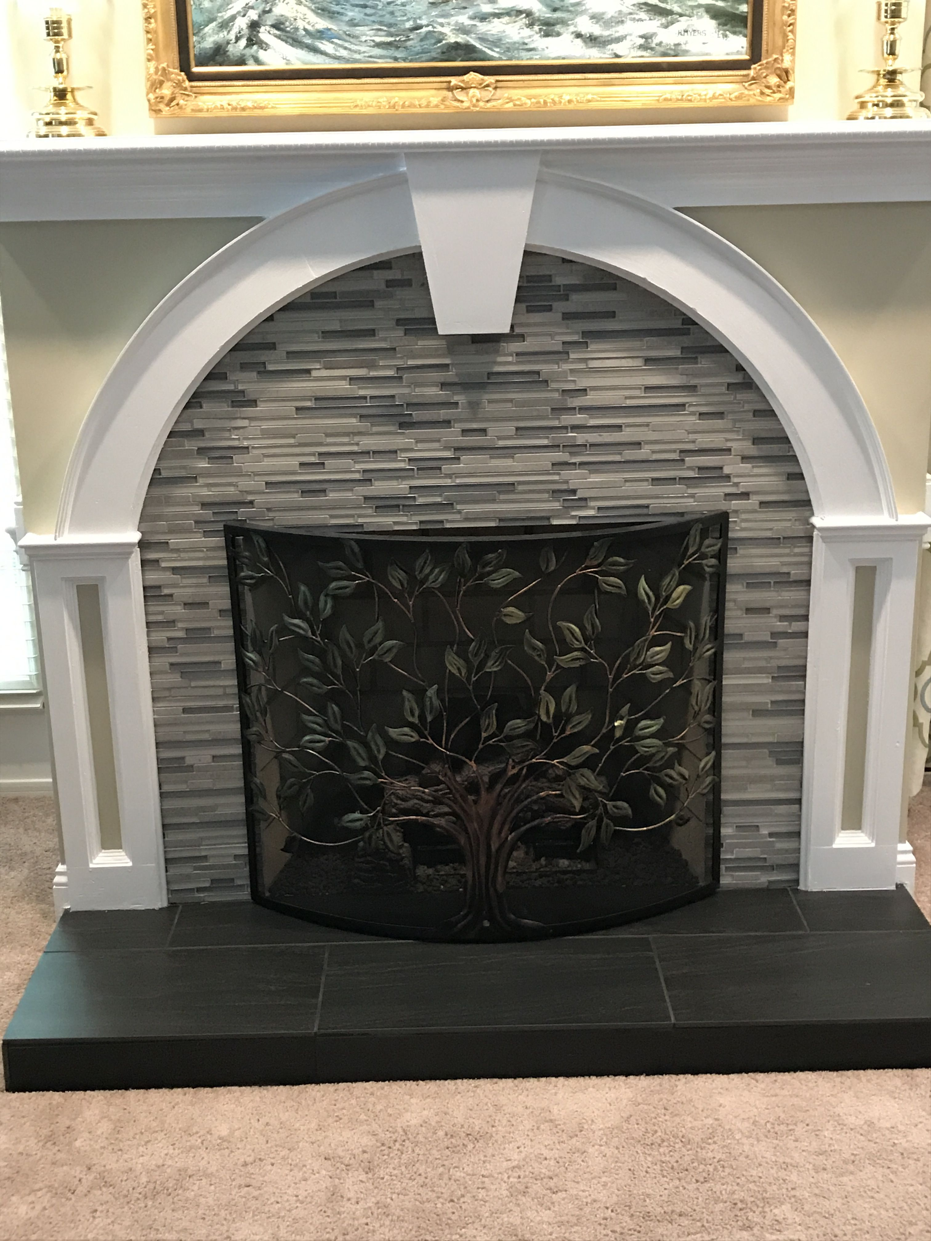 Granite Slab for Fireplace Hearth Awesome after Using Arlington Stria Glass and Stone Wall Tile for