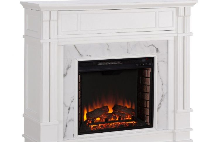 Harlan Grand Electric Fireplace Beautiful Highpoint Faux Cararra Marble Electric Media Fireplace White