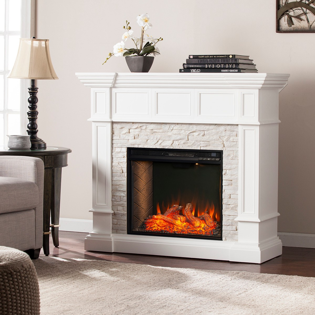 southern enterprises merrimack smart alexa enabled simulated stone convertible electric fireplace white lifestyle