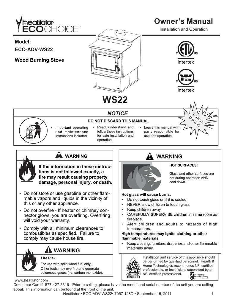 Heatilator Fireplace Manual Inspirational Ws22 Owner S Manual Notice Model