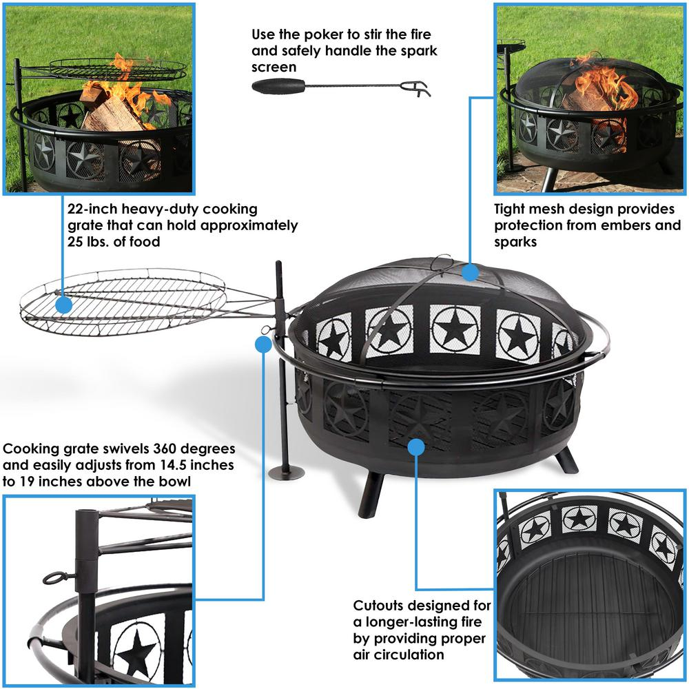 black sunnydaze decor fire pits kf asfp blk 76 1000