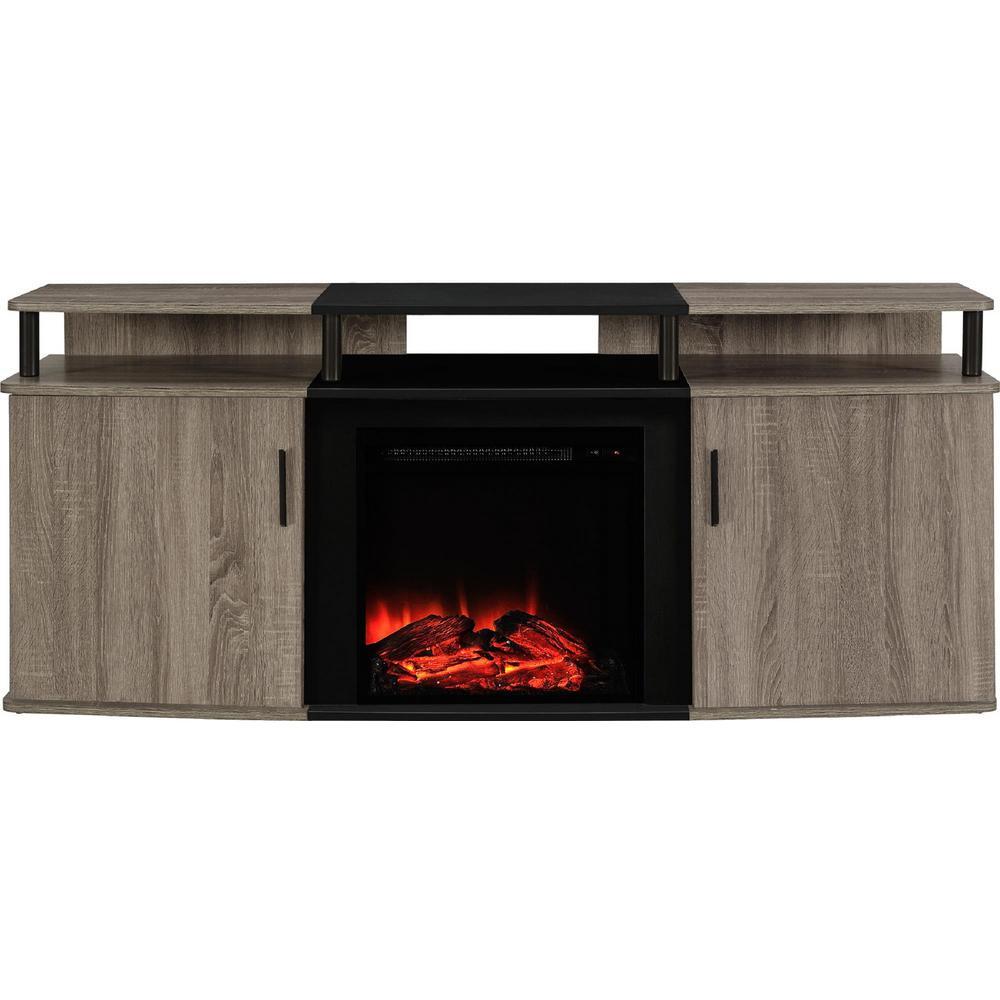 weathered oak finish ameriwood fireplace tv stands hd 64 1000