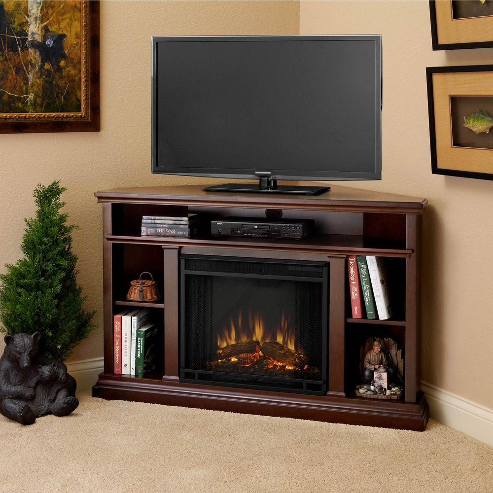brown real flame corner electric fireplaces 3750e de 64 1000