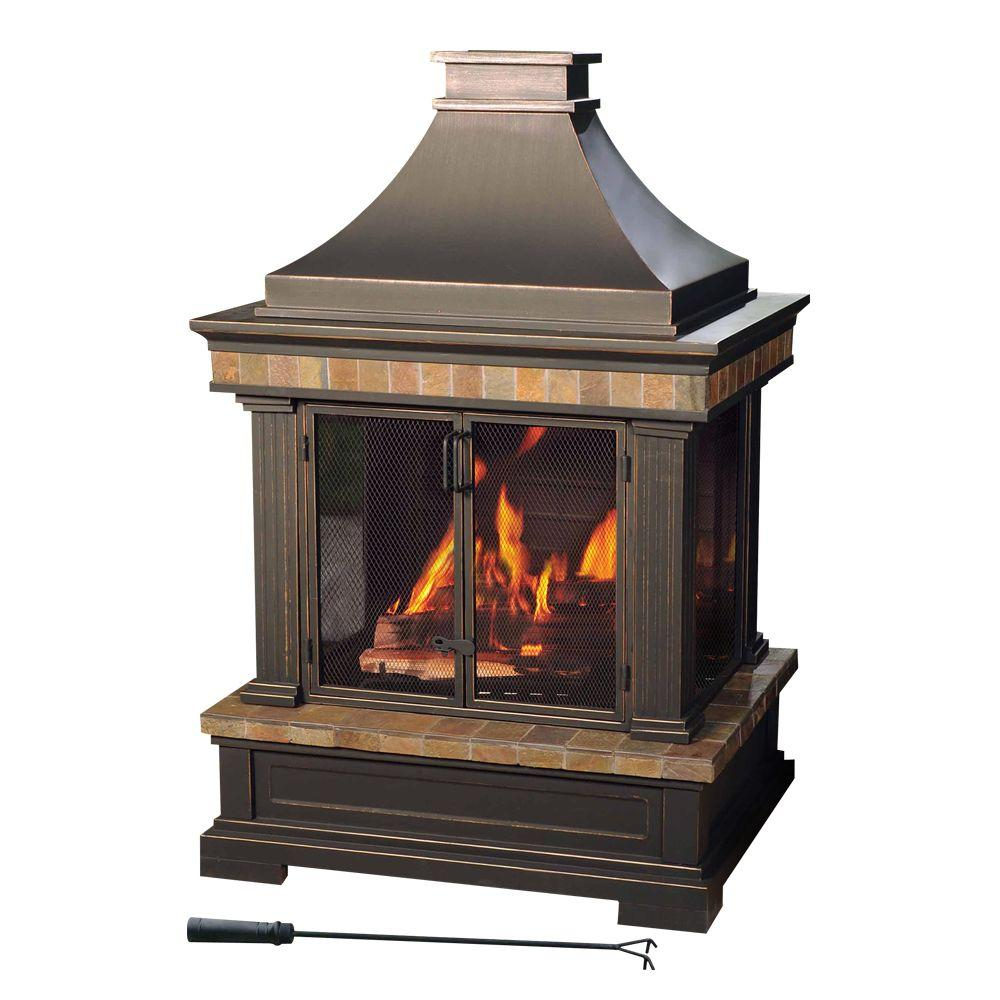Home Depot Outdoor Fireplace New Sunjoy Amherst 35 In Wood Burning Outdoor Fireplace