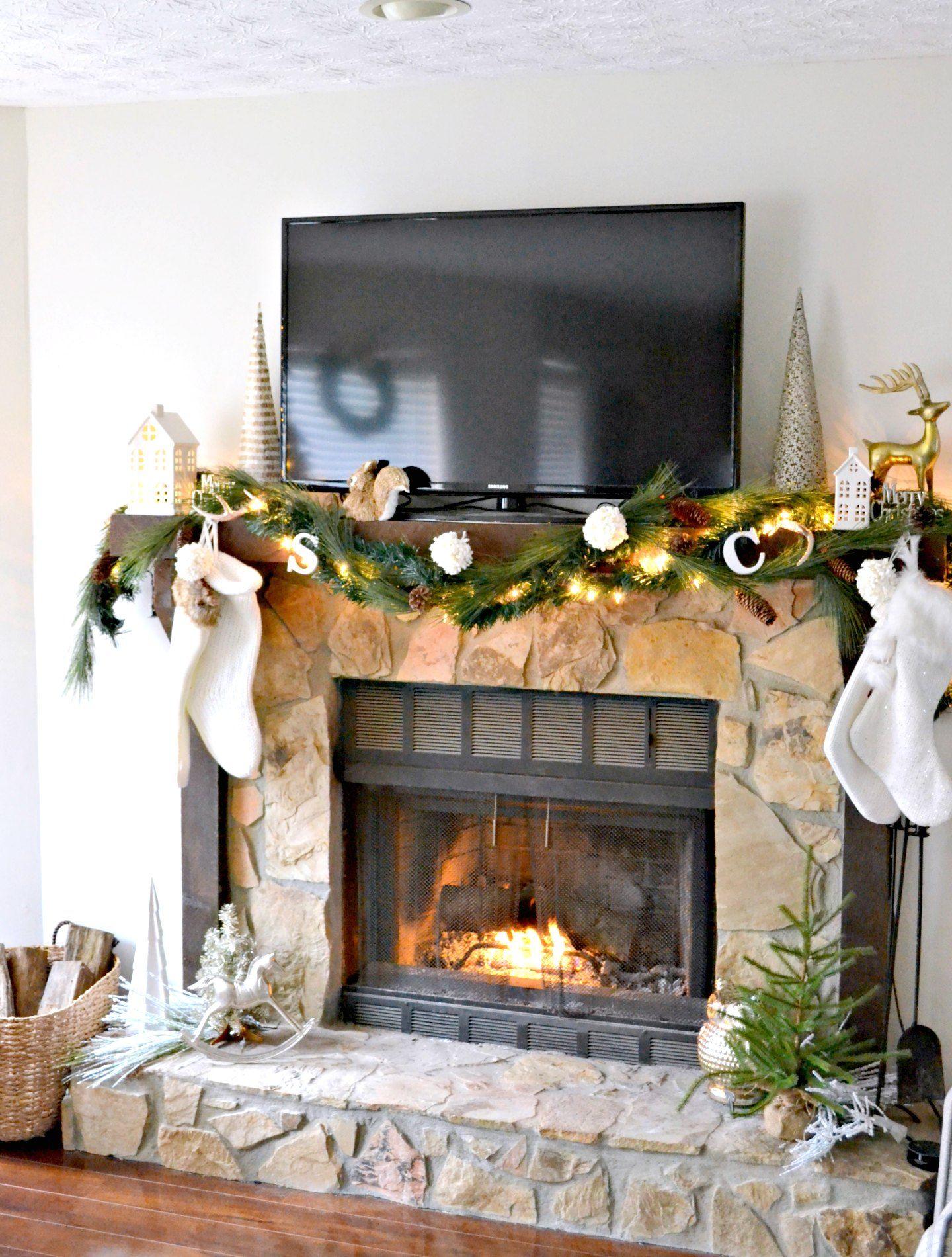 christmas mantel ideas neutral christmas decor on fireplace mantel