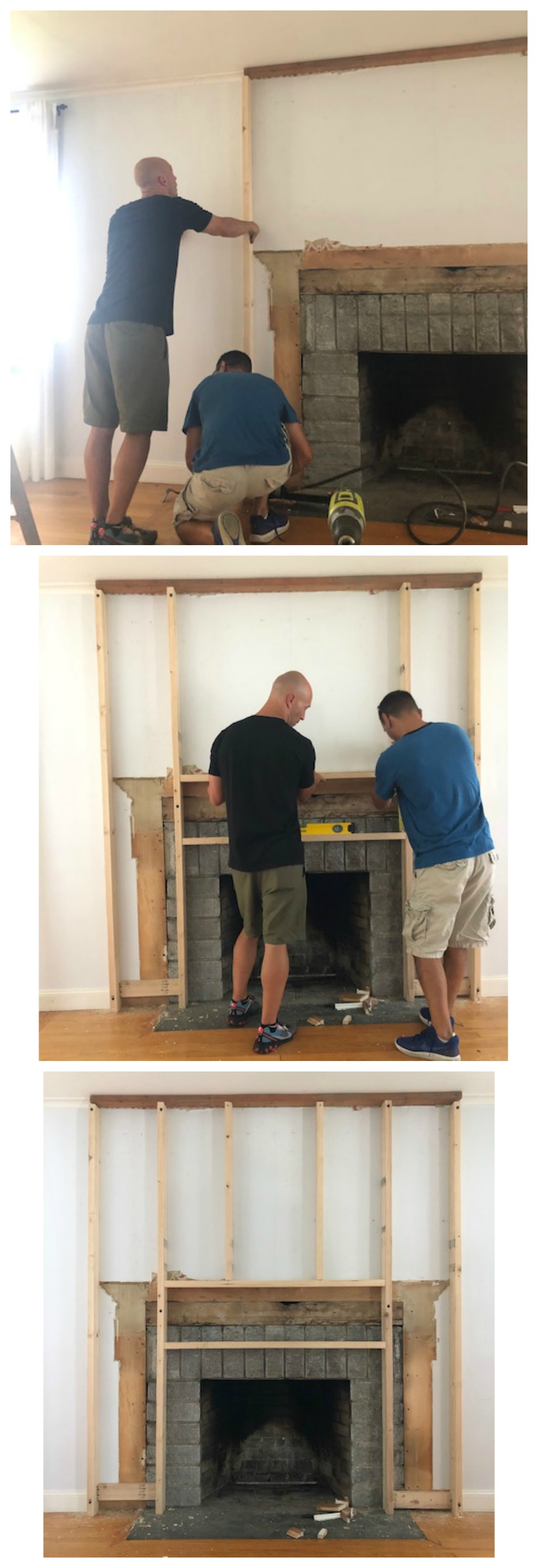 Shiplap Fireplace and Mantle DIY Tutorial 2