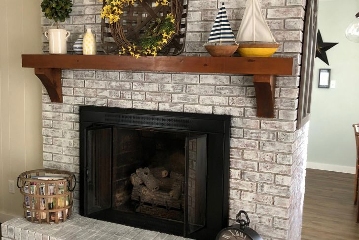 How to Paint A Brick Fireplace White Elegant Painted Brick Fireplace Sw Pure White Over Dark Red Brick