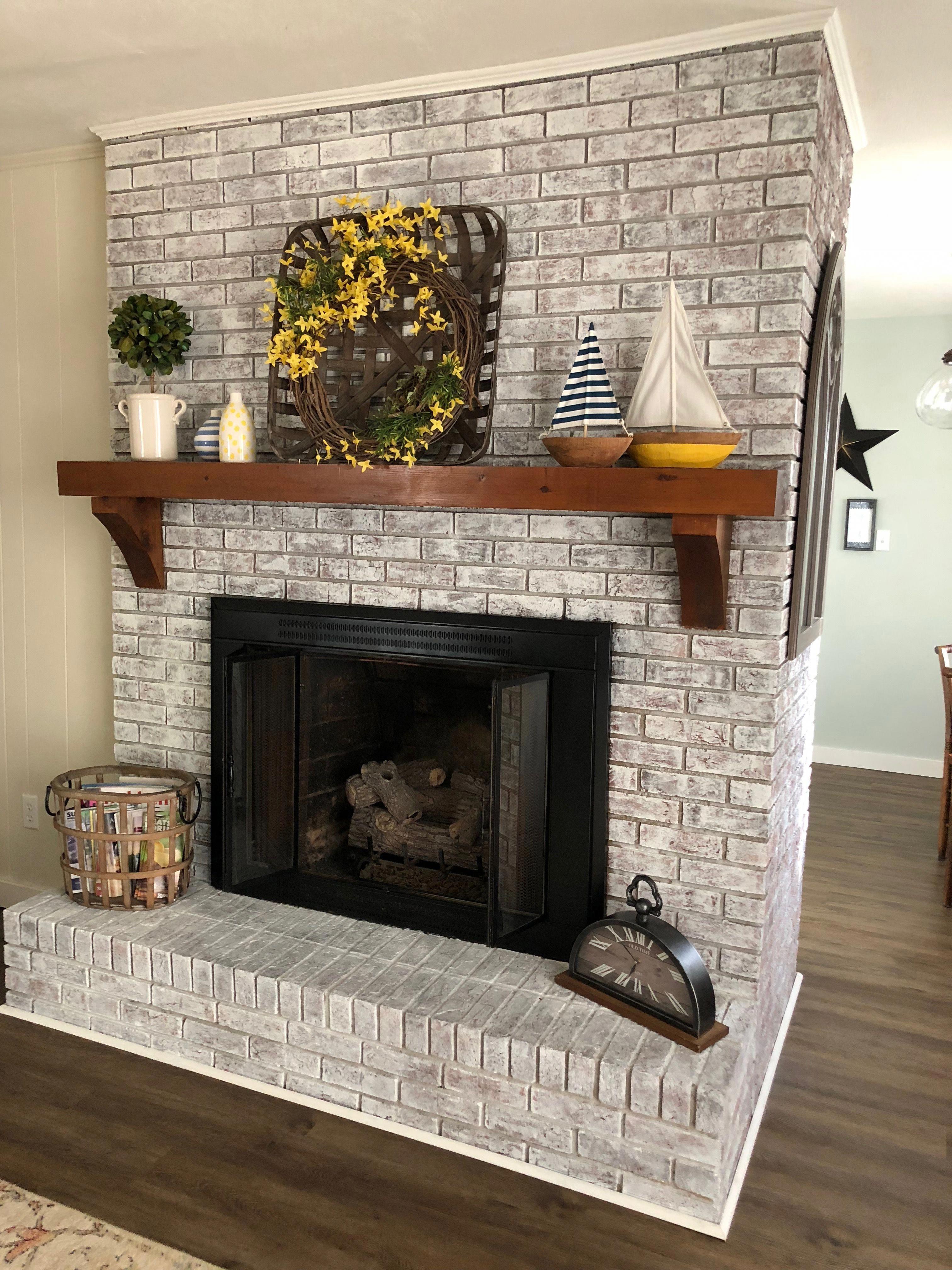 How to Paint A Brick Fireplace White Elegant Painted Brick Fireplace Sw Pure White Over Dark Red Brick