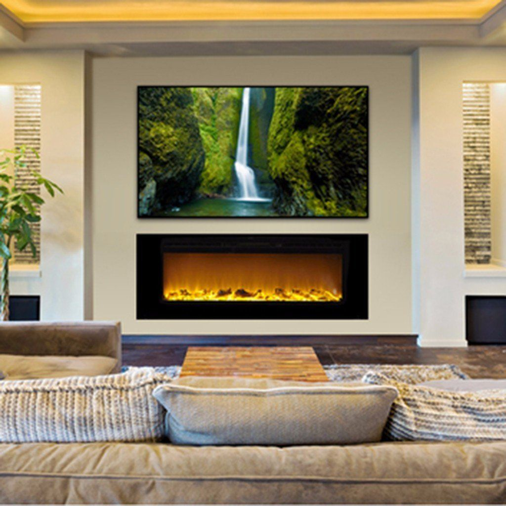 "Inset Fireplace Elegant Sideline 60 60"" Recessed Electric Fireplace In 2019"