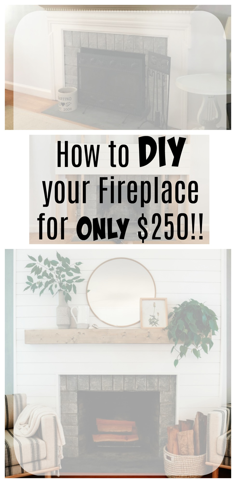 Shiplap Fireplace DIY and mantle