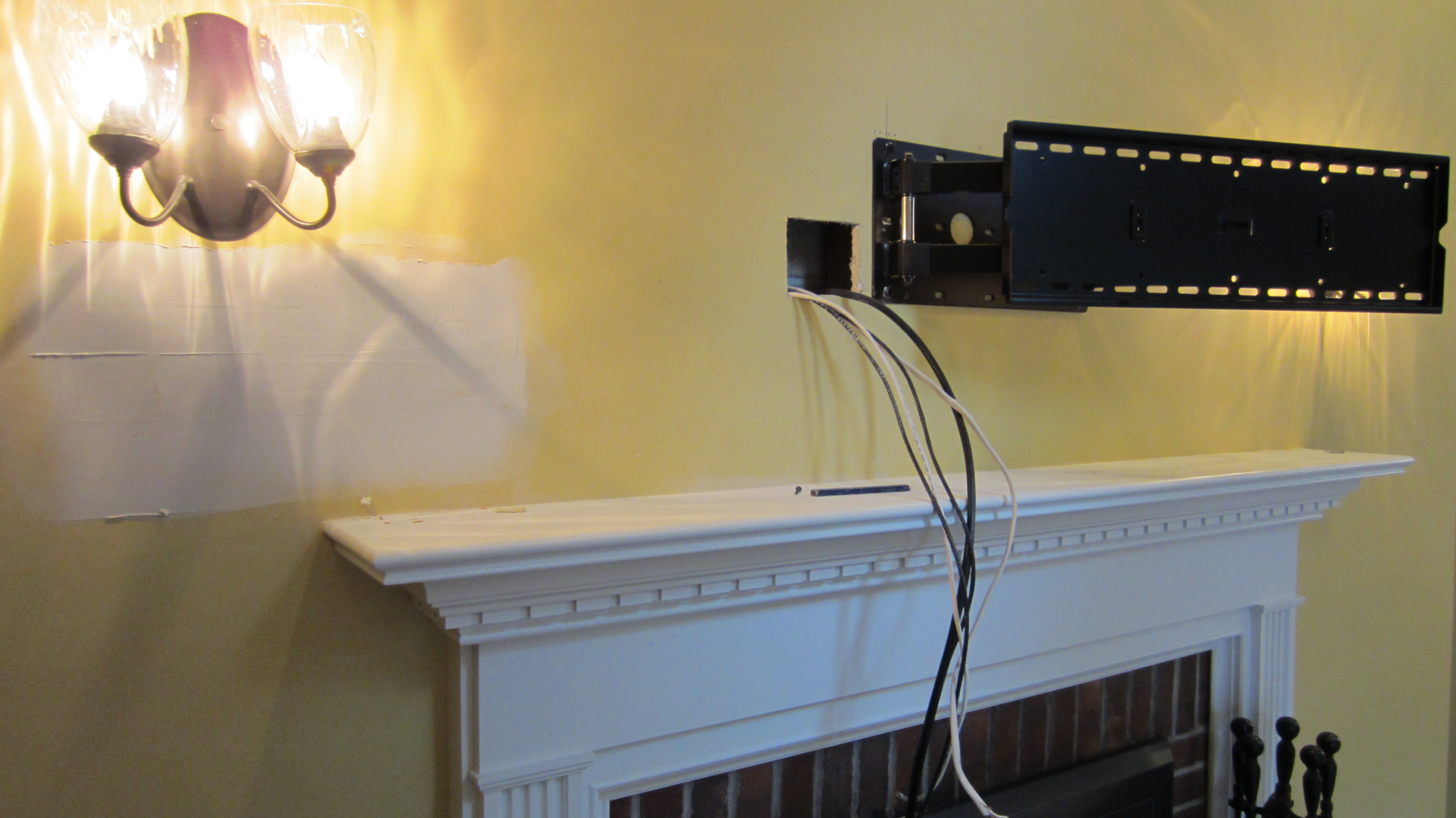 norwalk ct tv mounted over fireplace with all wires concealed img 1081