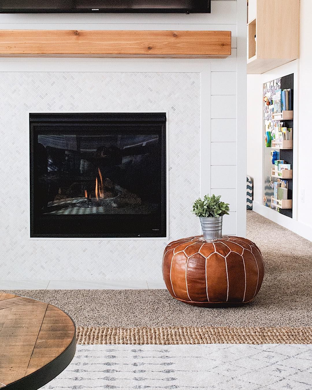 Linear Fireplace with Mantel Elegant Modern Farmhouse Fireplace with Wood Beam Mantel and