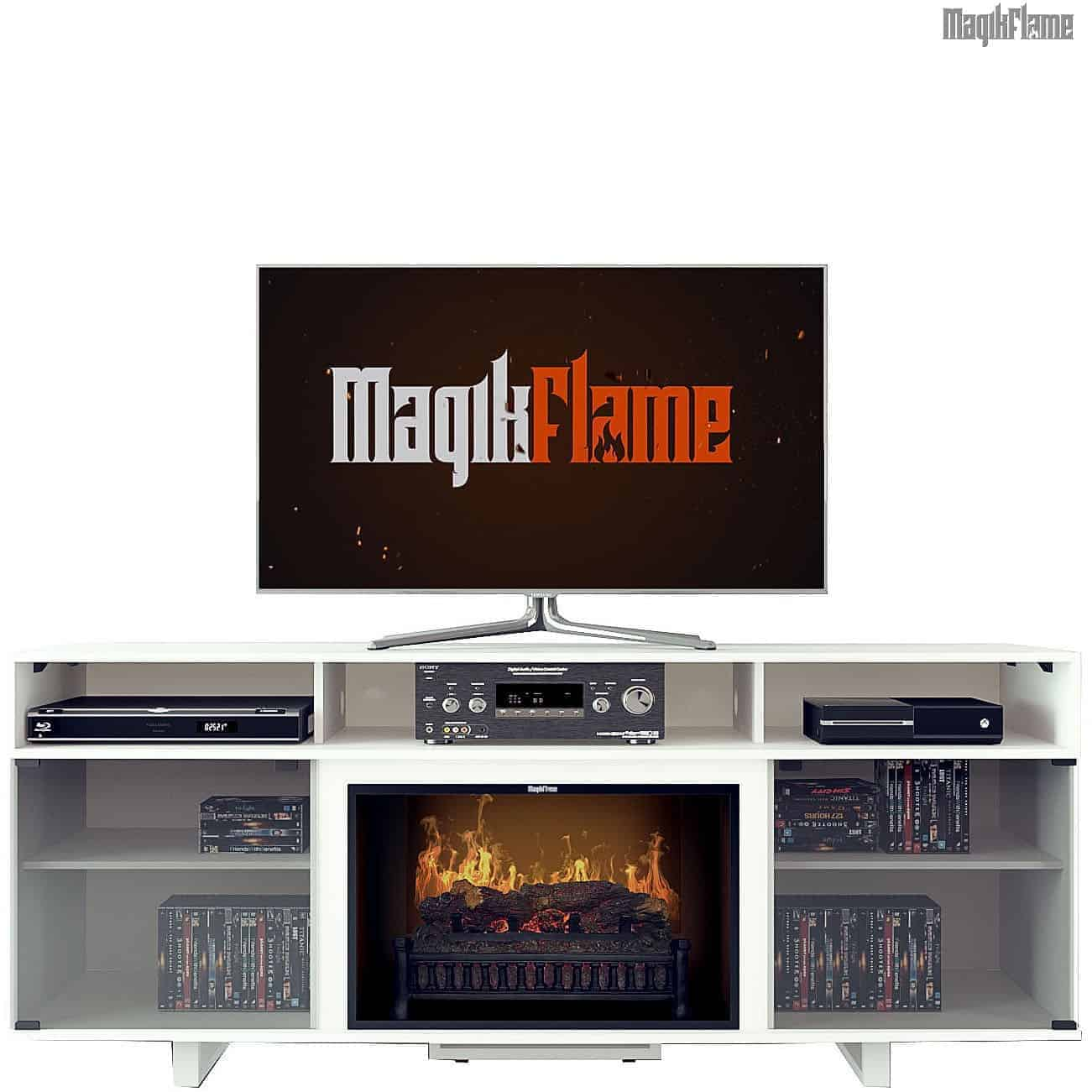 MGK 26MM9872 NT01 Gloss White Wood Media Mantel Fireplace Front View w TV