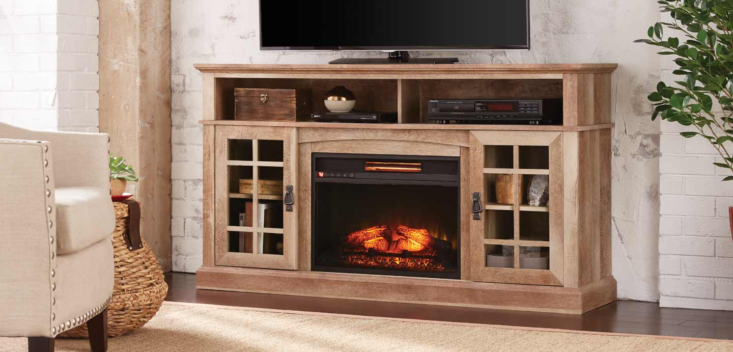 entertainment center with fireplace and fridge menards
