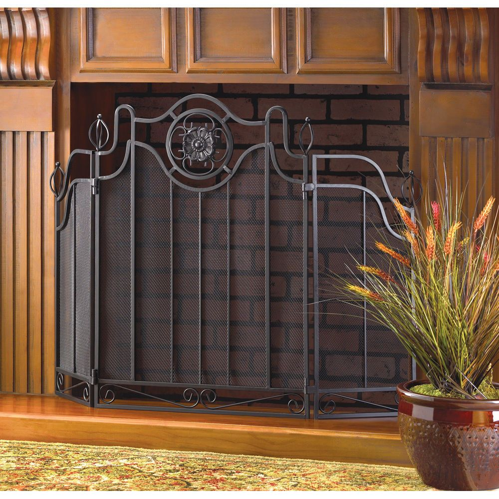 Mesh Fireplace Screen Awesome Details About Tuscan Design Fireplace Screen Black Folding