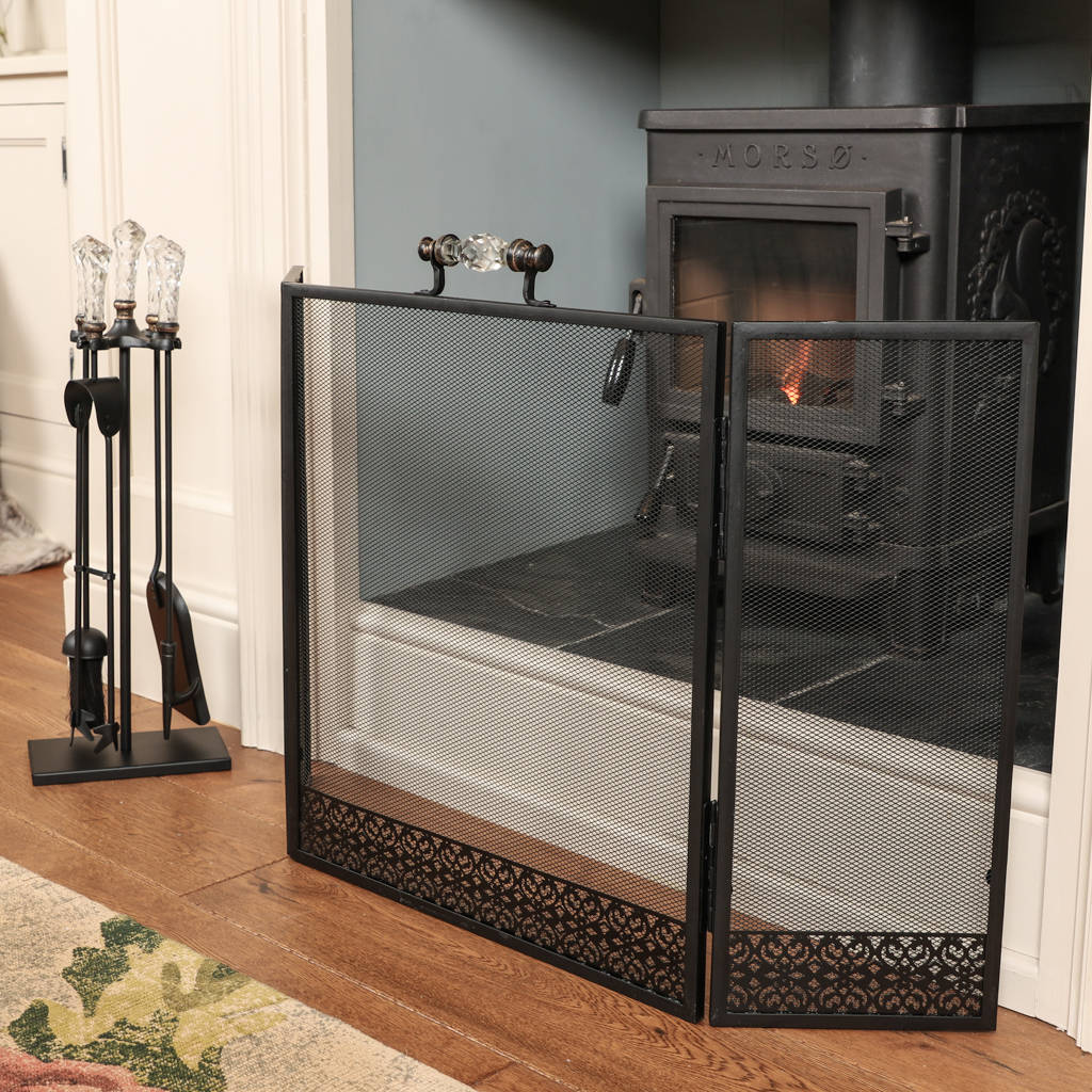 Mesh Fireplace Screen Elegant Marseille Fire Side tools Panion Set