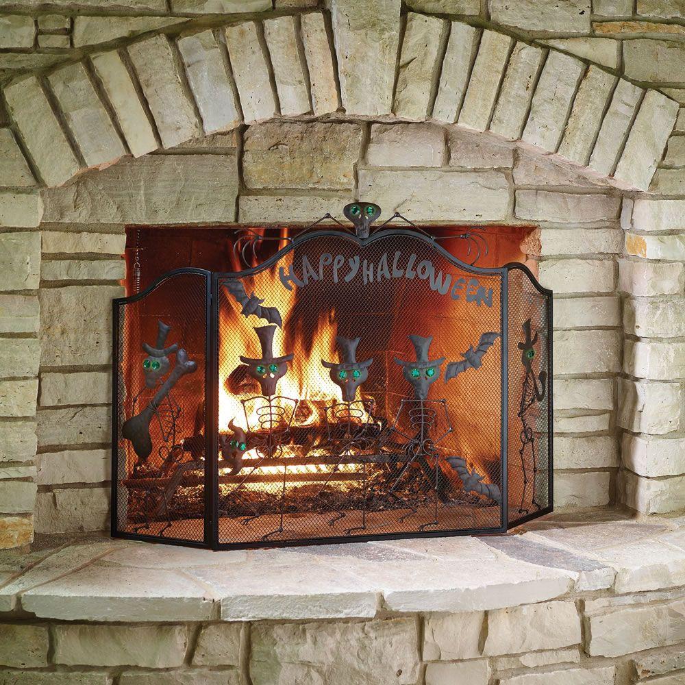 Mesh Fireplace Screen Inspirational the Halloween Fireplace Screen Hammacher Schlemmer