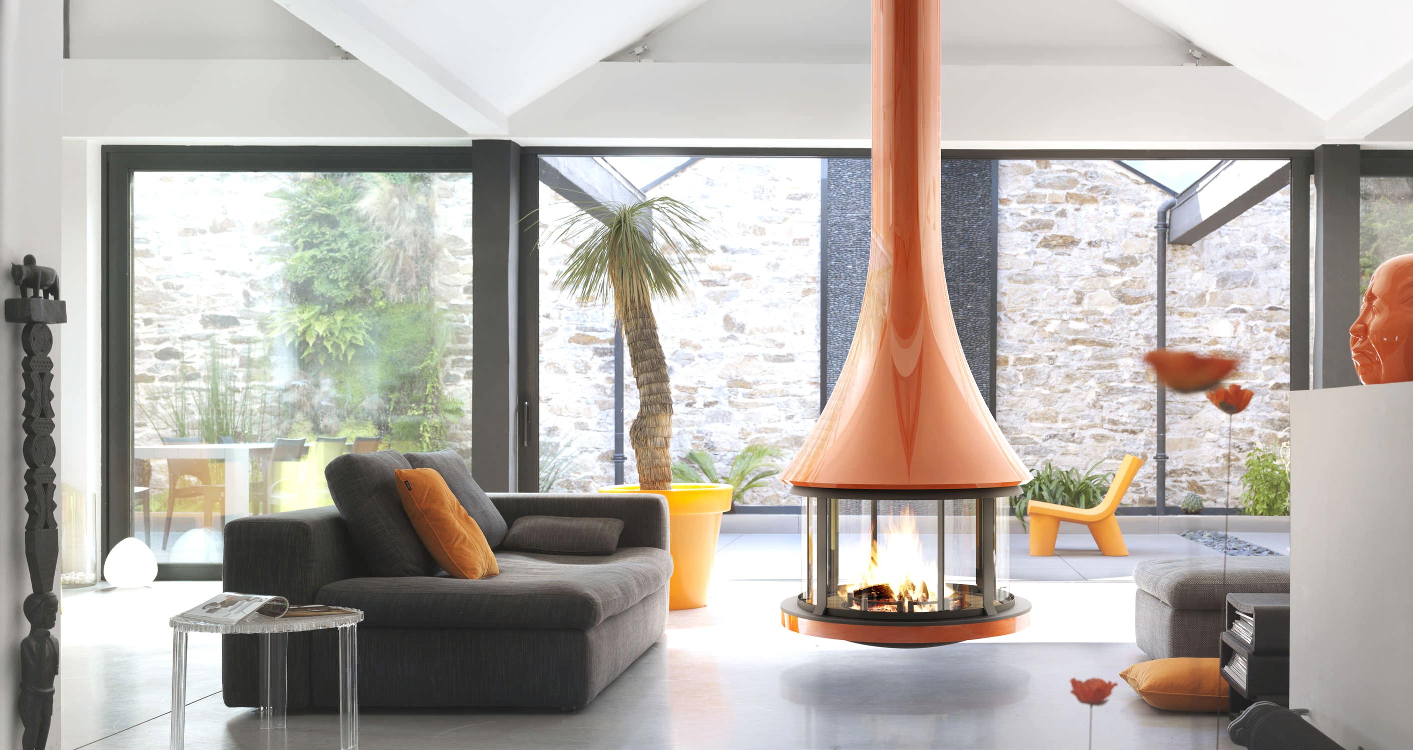 sleek style mid century modern hanging fireplace retro interior