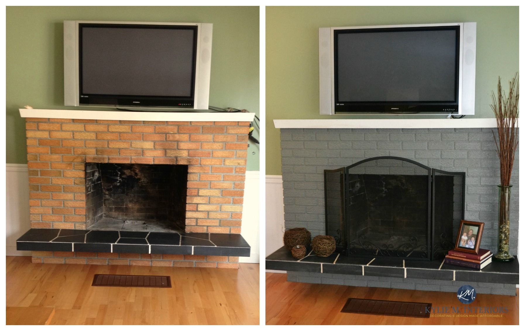 ideas to update an old brick fireplace with paint