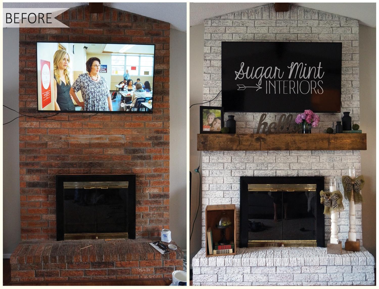 ideas update old brick fireplace ideas update old brick fireplace elegant diy white washed fireplace makeover sugar mint co