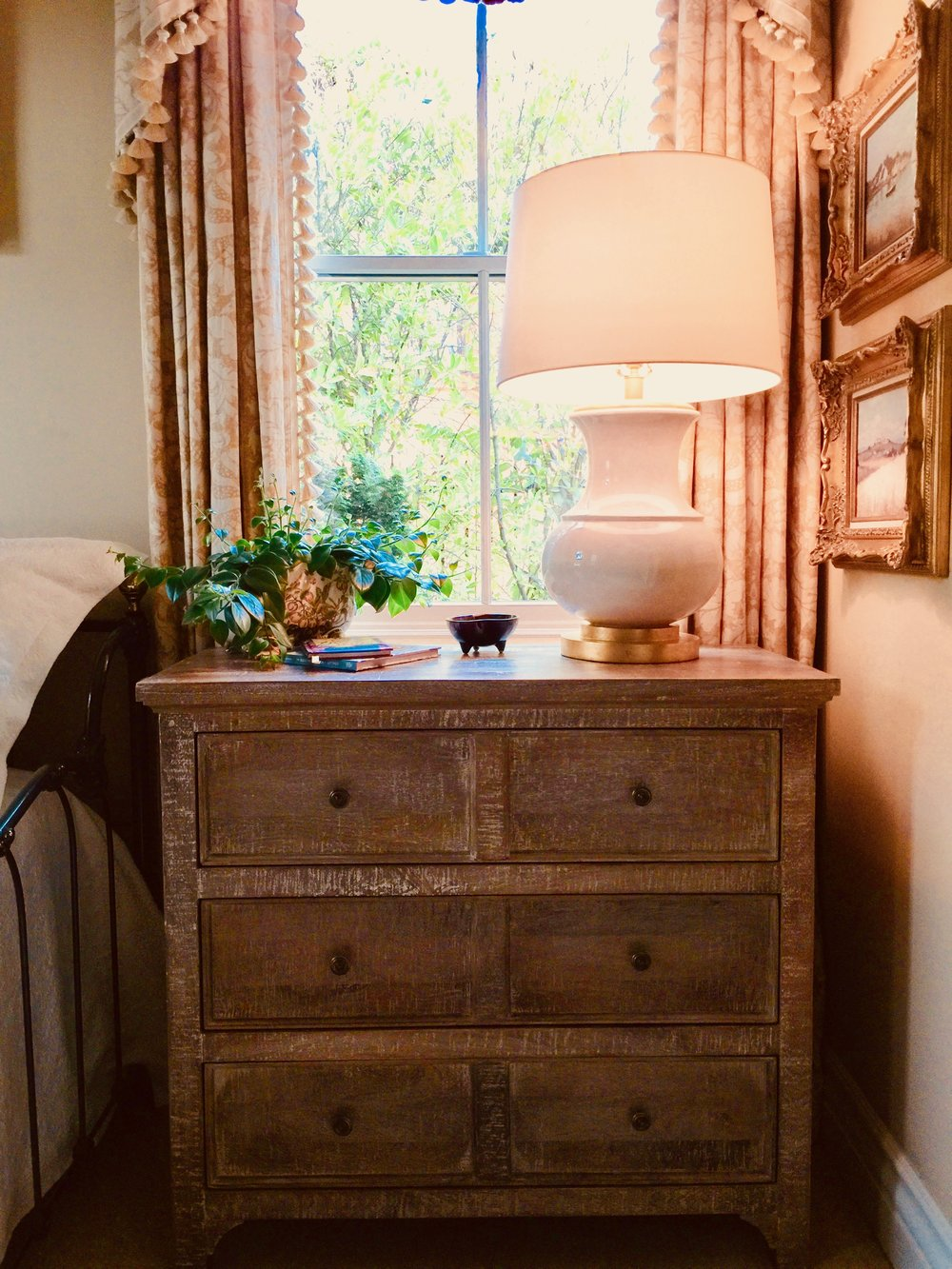Pottery Barn Thalia dresser and Deauville lamp from Circa Lighting