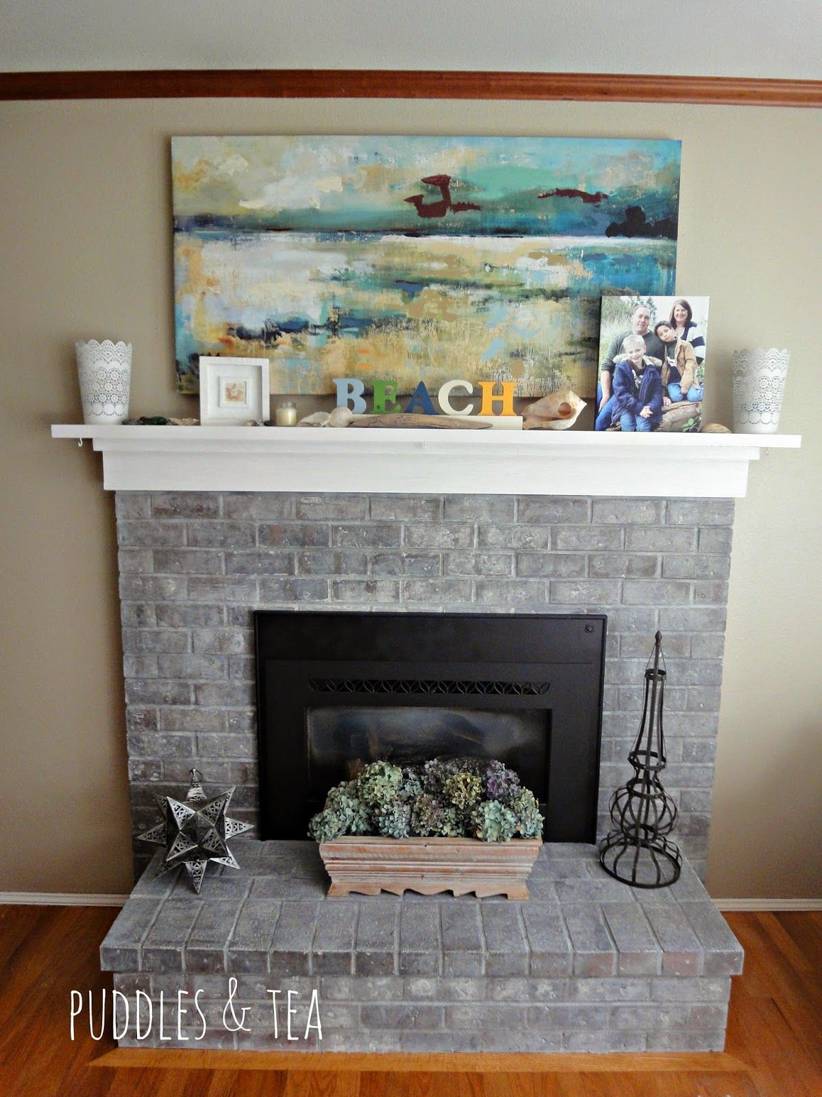 Redo Brick Fireplace New Puddles & Tea White Wash Brick Fireplace Makeover