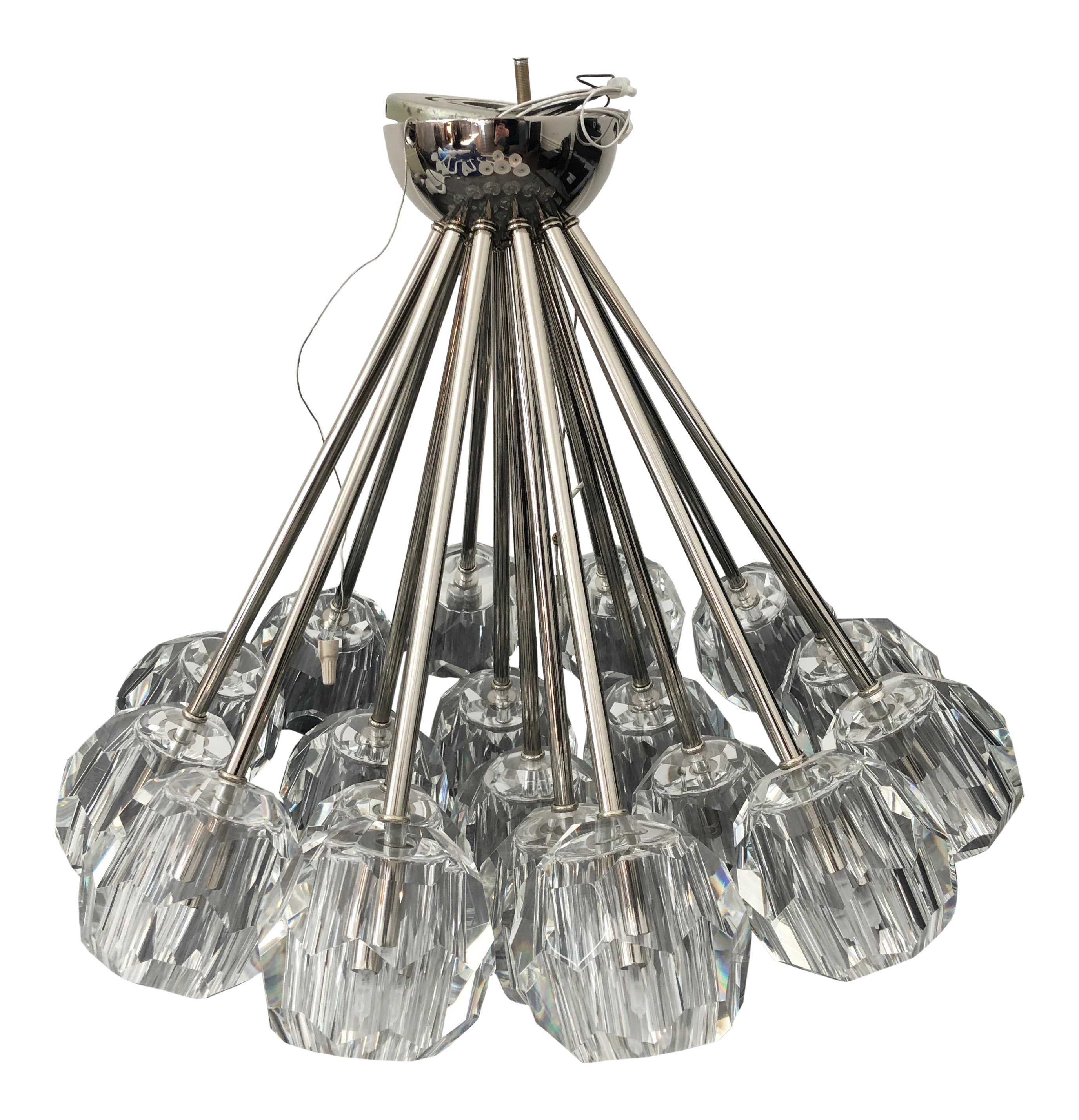 restoration hardware boule de cristal flushmount 24 polished nickel 6707