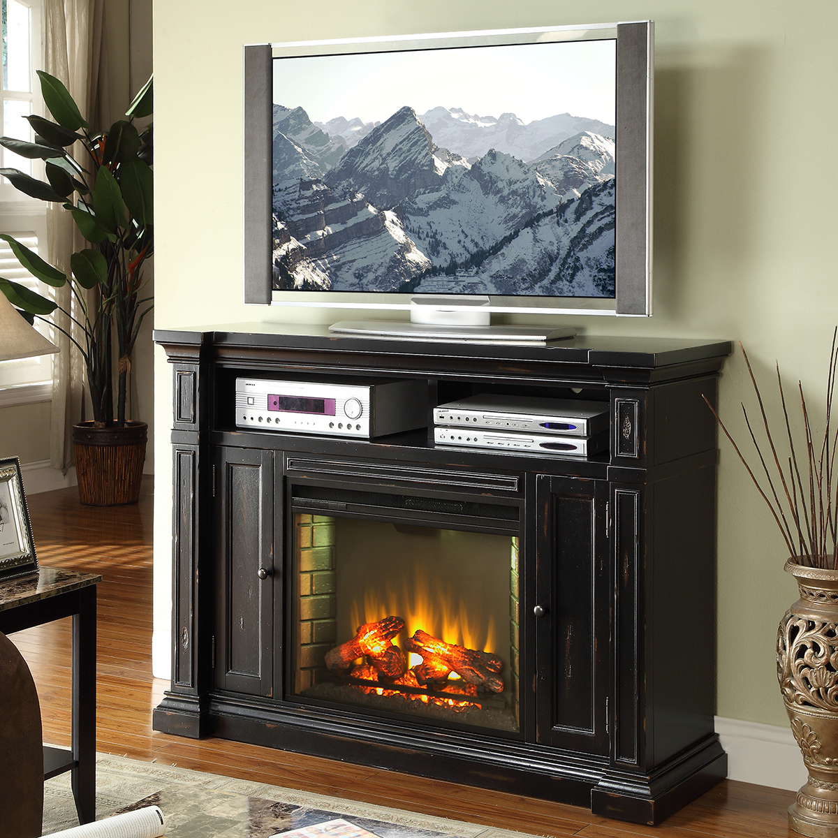"""Rustic Entertainment Center with Fireplace New Manchester 58"""" Fireplace Media Center Tv Stand Mantel In"""