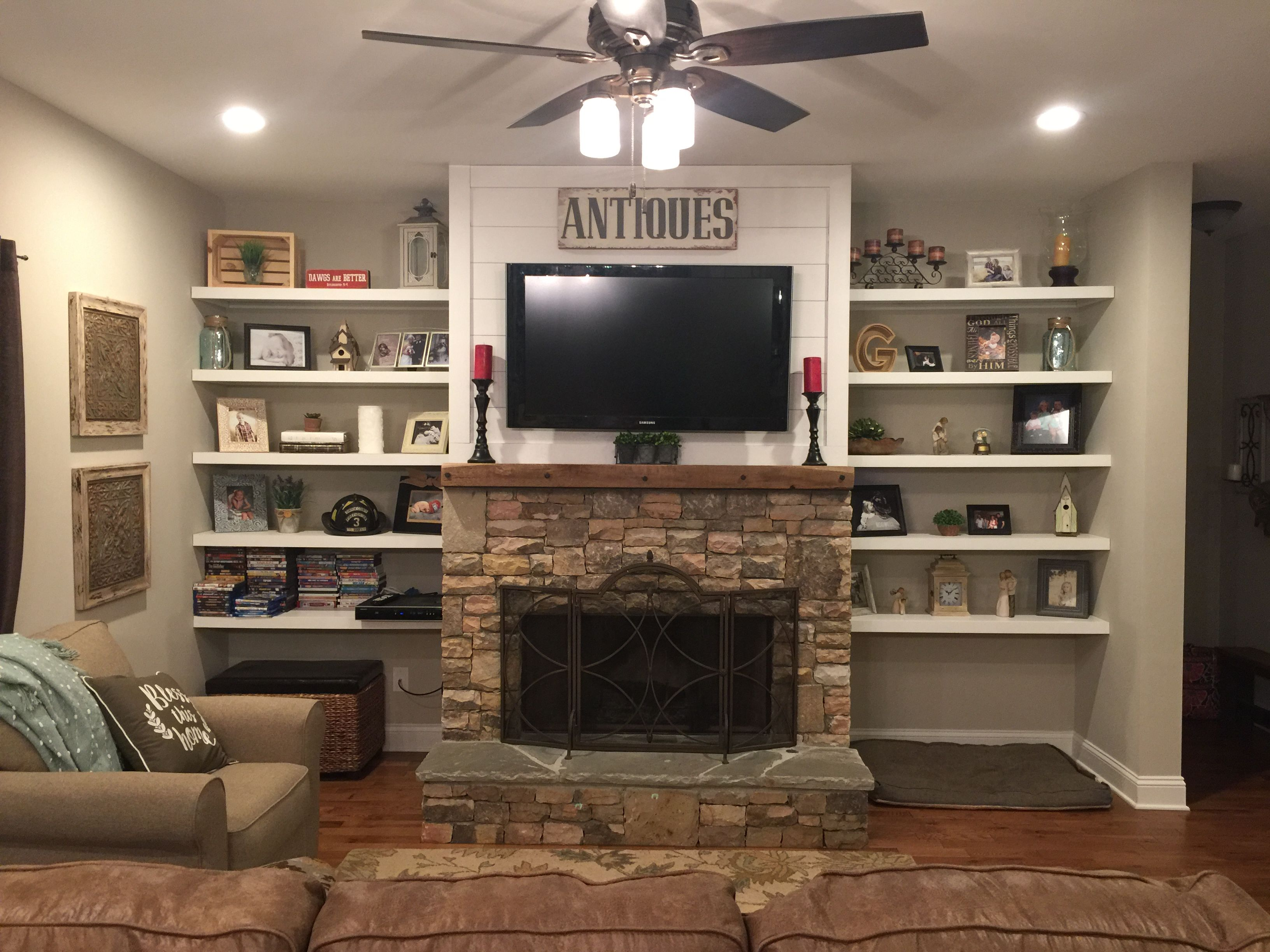 Shiplap Above Fireplace Luxury Stacked Rock Fireplace Barnwood Mantel Shiplap top with