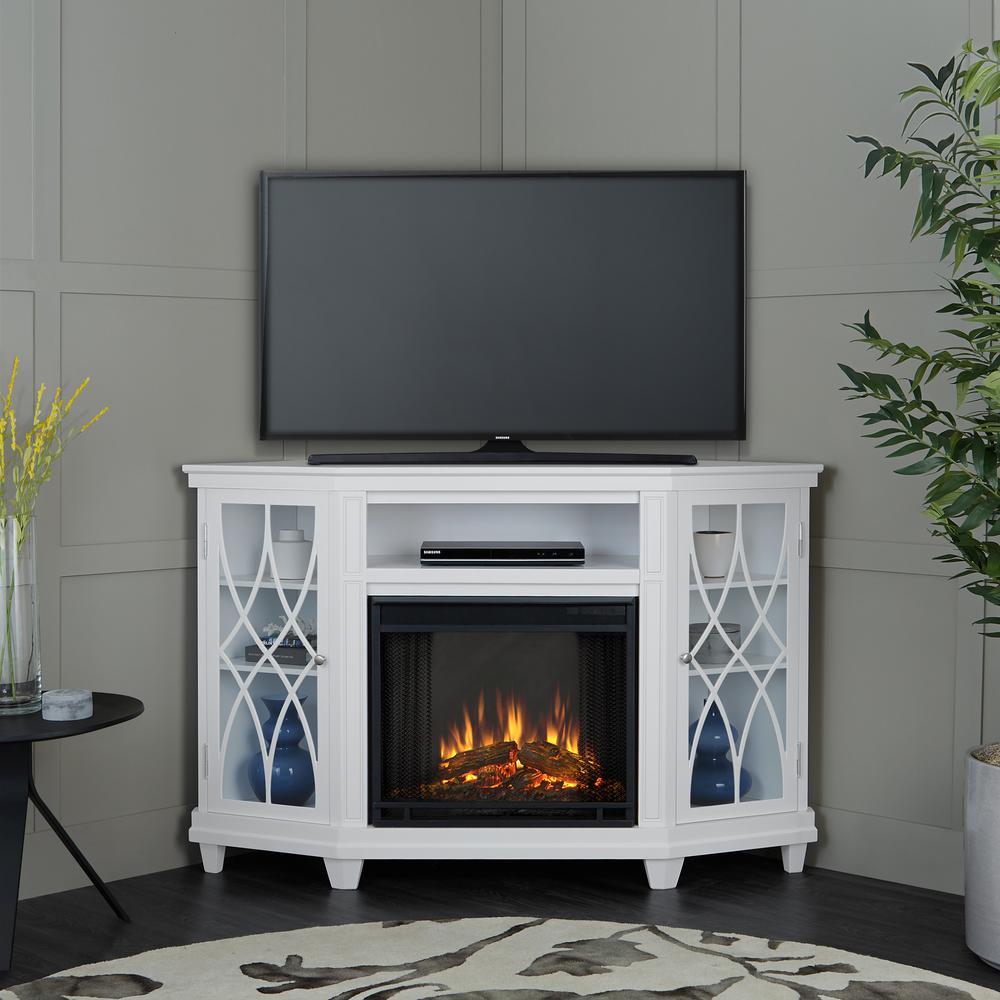 Small Corner Electric Fireplace Elegant Lynette 56 In Corner Electric Fireplace In White