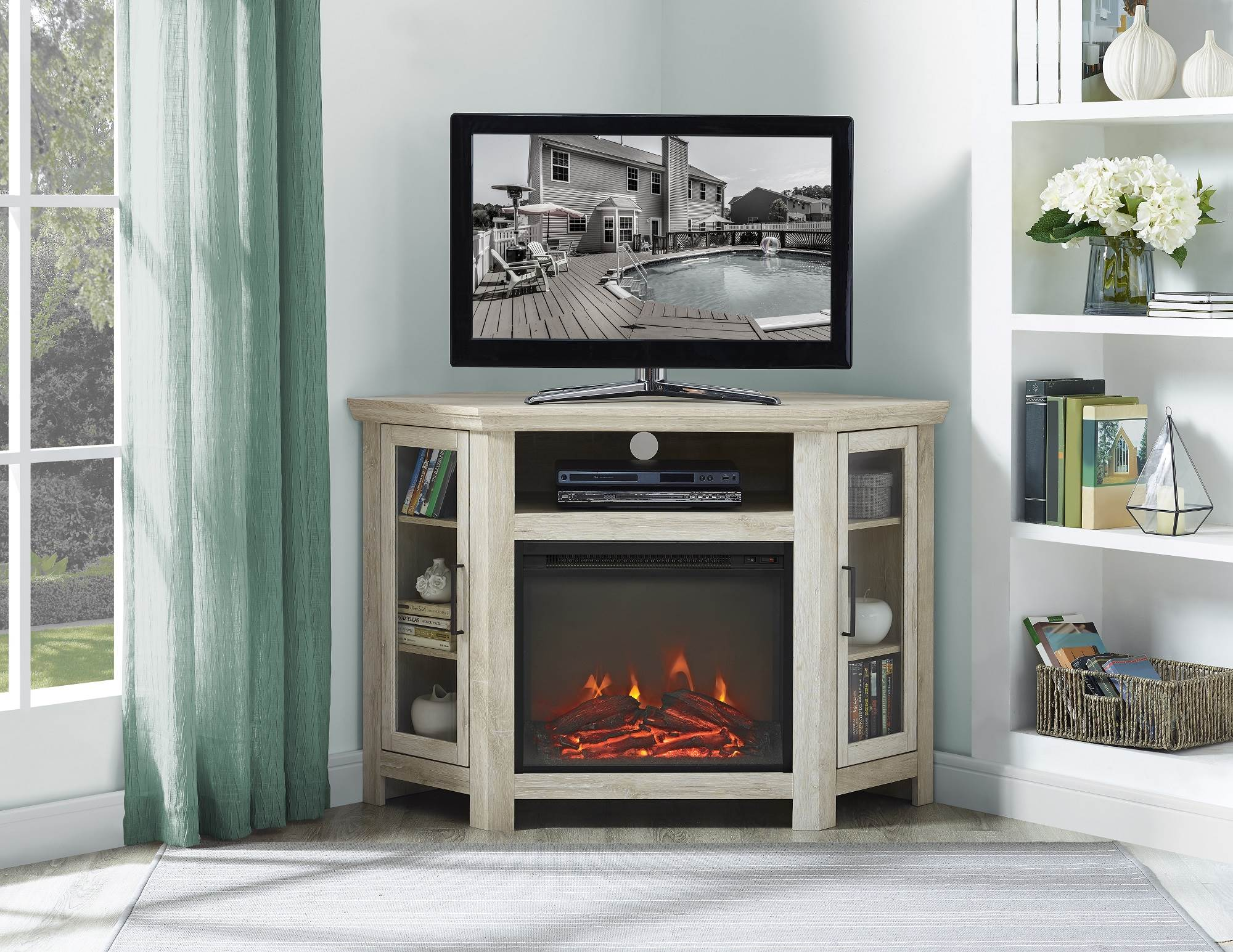 media console corner electric fireplace tv stand