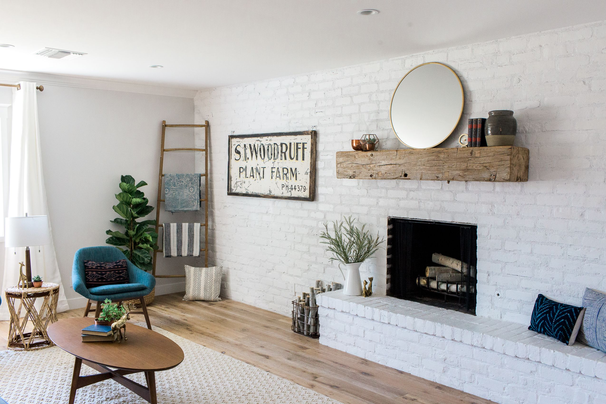 Southwest Brick and Fireplace Awesome Family Room Accent Wall with White Painted Brick Wall and