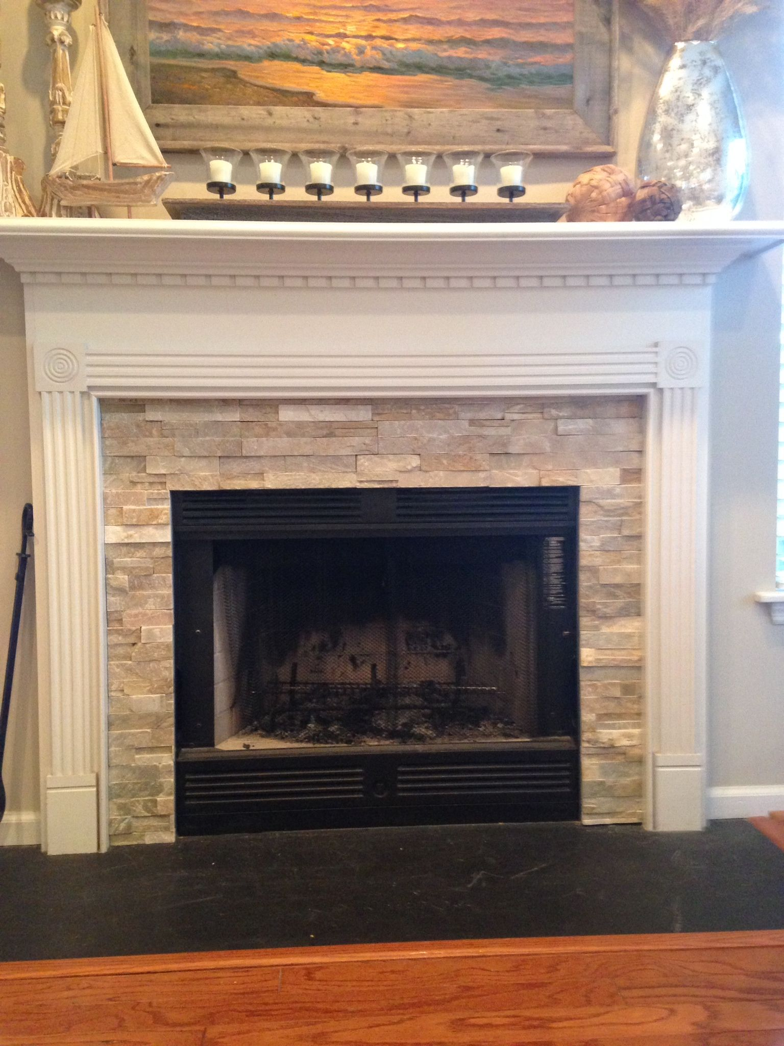 Stacked Stone Electric Fireplace Unique Fireplace Idea Mantel Wainscoting Design Craftsman