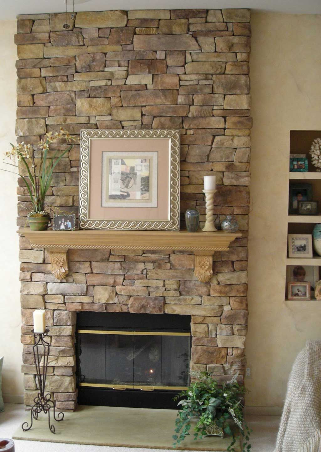 Stacked Stone Fireplace Unique Stone Veneer Fireplace Design Fireplace In 2019