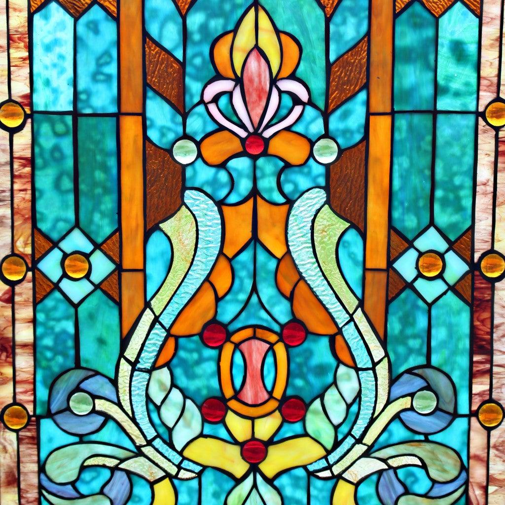 28 H Tiffany Style Stained Glass Fleur de Lis Fireplace Screen Green e8e 7a0d 4307 aeb2 6e0de7b144c2