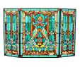"""Stained Glass Fireplace Screen Fresh 28""""h Tiffany Style Stained Glass Fleur De Lis Fireplace Screen Green 44""""w X 28""""h"""