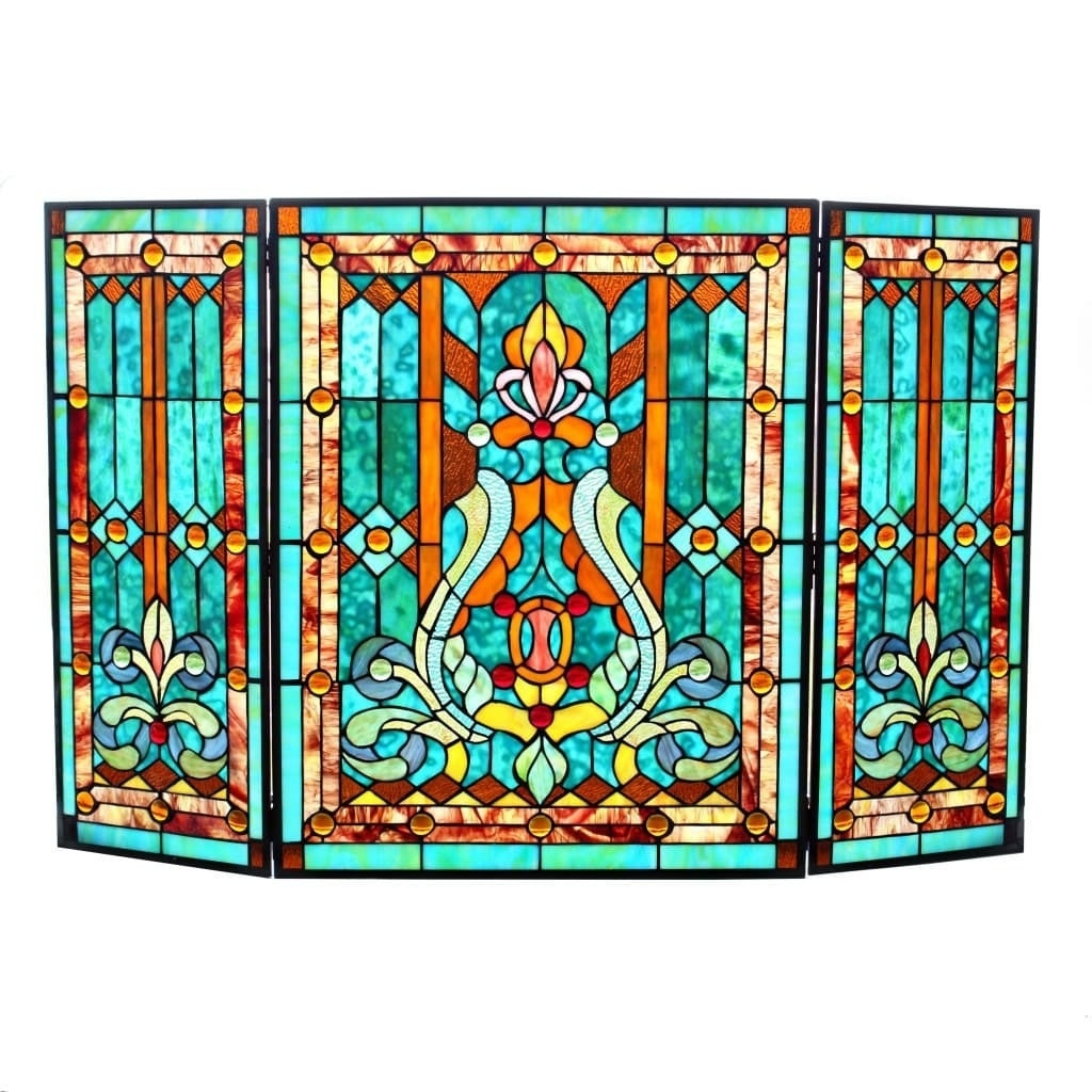 28 H Tiffany Style Stained Glass Fleur de Lis Fireplace Screen Green 8744e625 0621 4629 8ead 2e f3