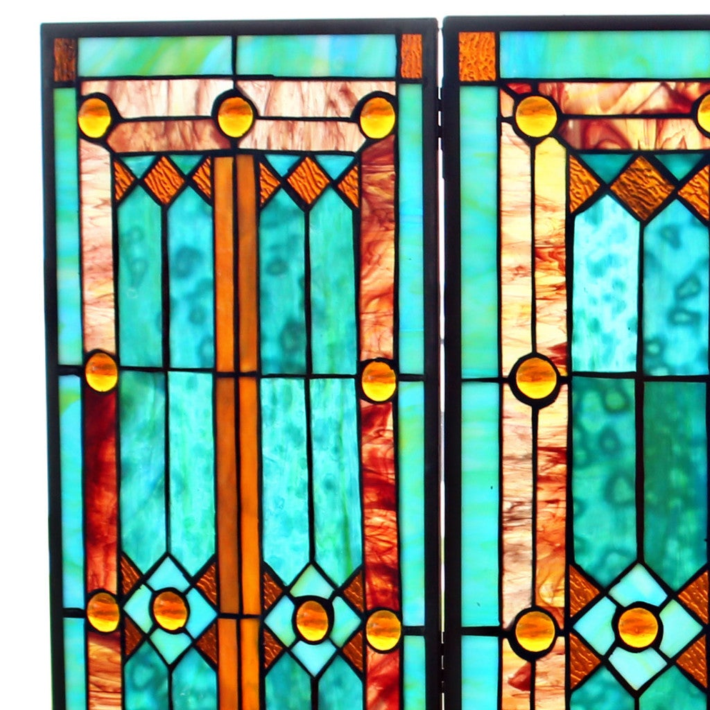28 H Tiffany Style Stained Glass Fleur de Lis Fireplace Screen Green a32debfe 177a 4b71 bb78 97f917d695f0