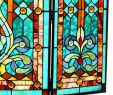 """Stained Glass Fireplace Screen Lovely 28""""h Tiffany Style Stained Glass Fleur De Lis Fireplace Screen Green 44""""w X 28""""h"""