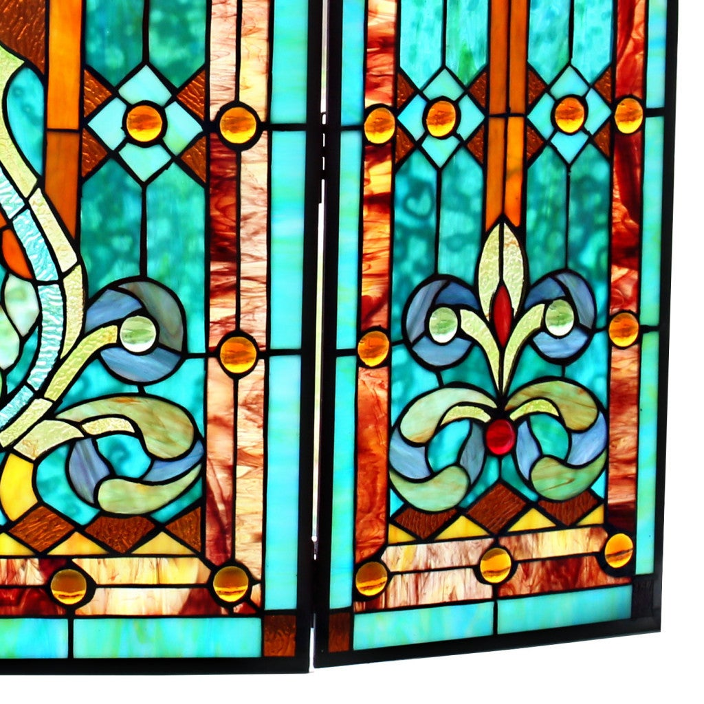 28 H Tiffany Style Stained Glass Fleur de Lis Fireplace Screen Green 971aec94 047c 442c b70a a1db66f