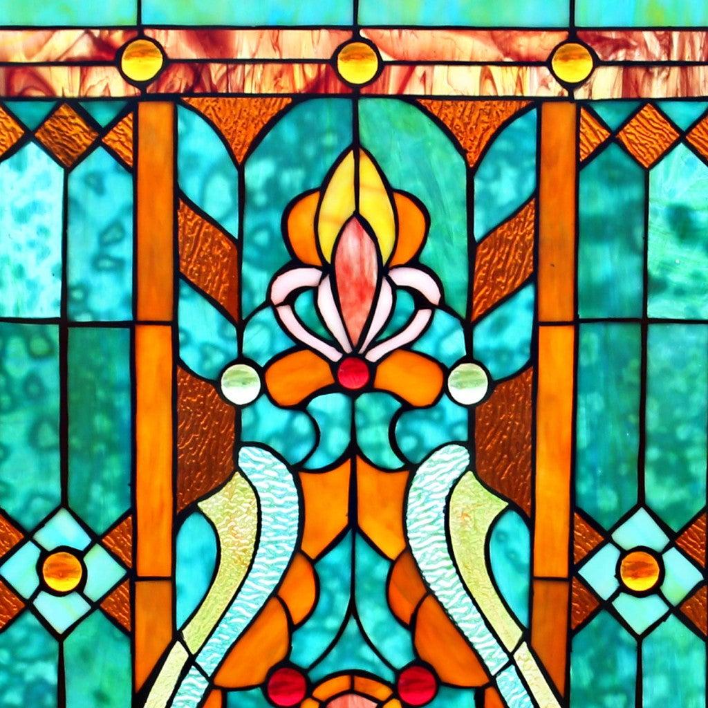 28 H Tiffany Style Stained Glass Fleur de Lis Fireplace Screen Green eb20b327 be86 4283 b83a 8edf6ecc870a