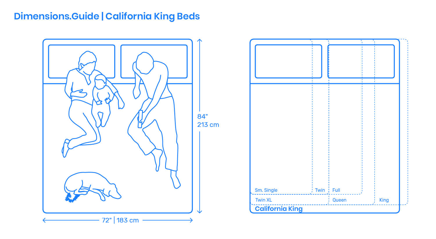 bedrooms cal king sizes dimensions width length measurements feet furniture beds