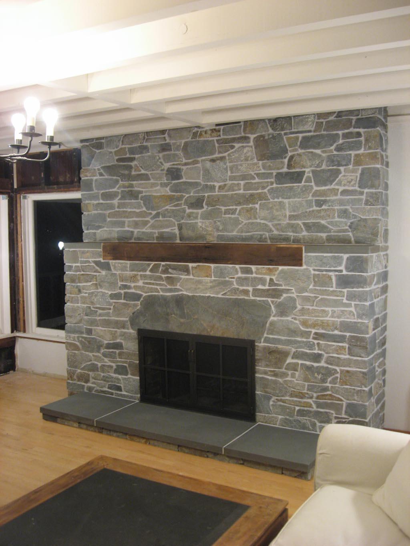 fireplace stacked stone veneer