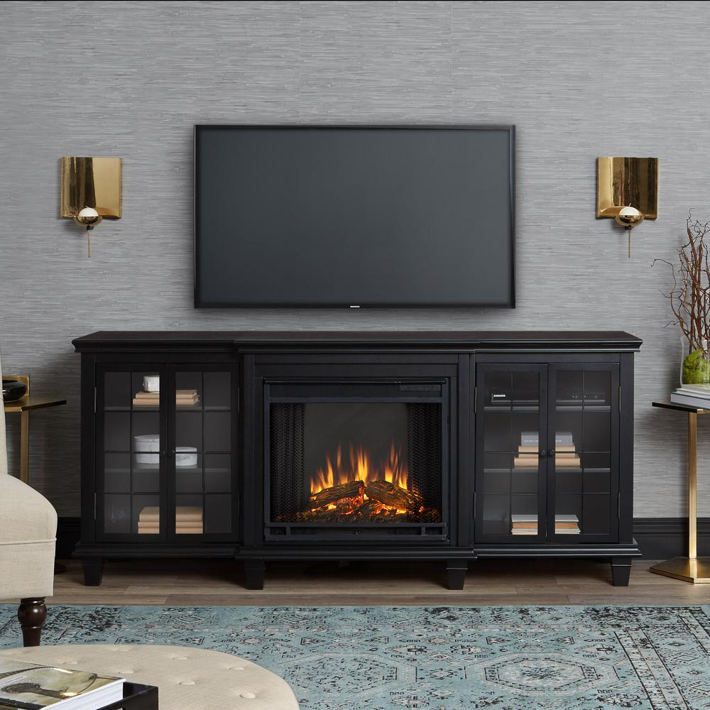 black real flame fireplace tv stands 2770e bk 64 1000