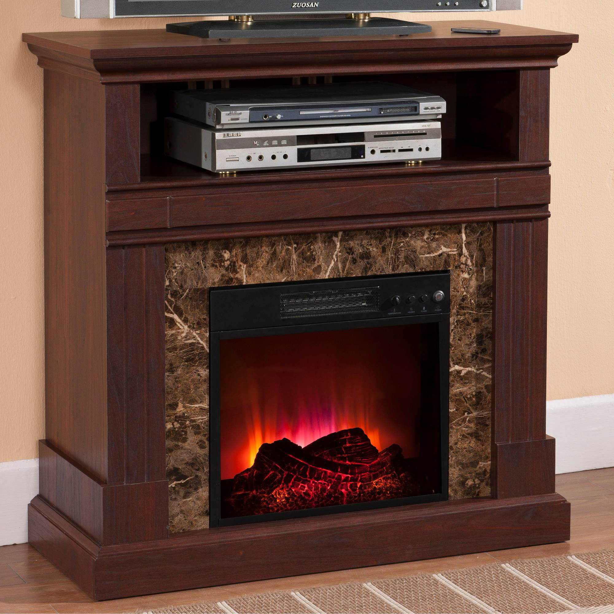 prokonian with corner electric fireplace tv stand