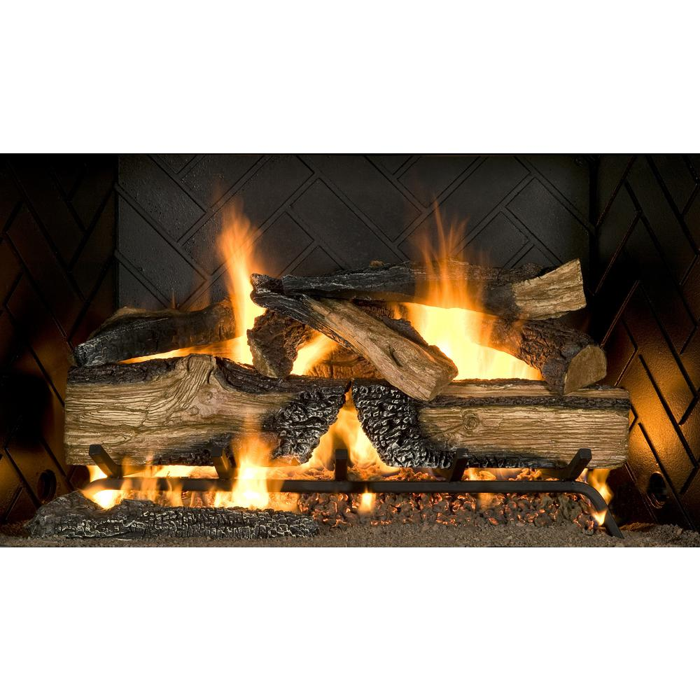 Vented Gas Fireplace Logs with Remote Elegant Emberglow Country Split Oak 24 In Vented Natural Gas
